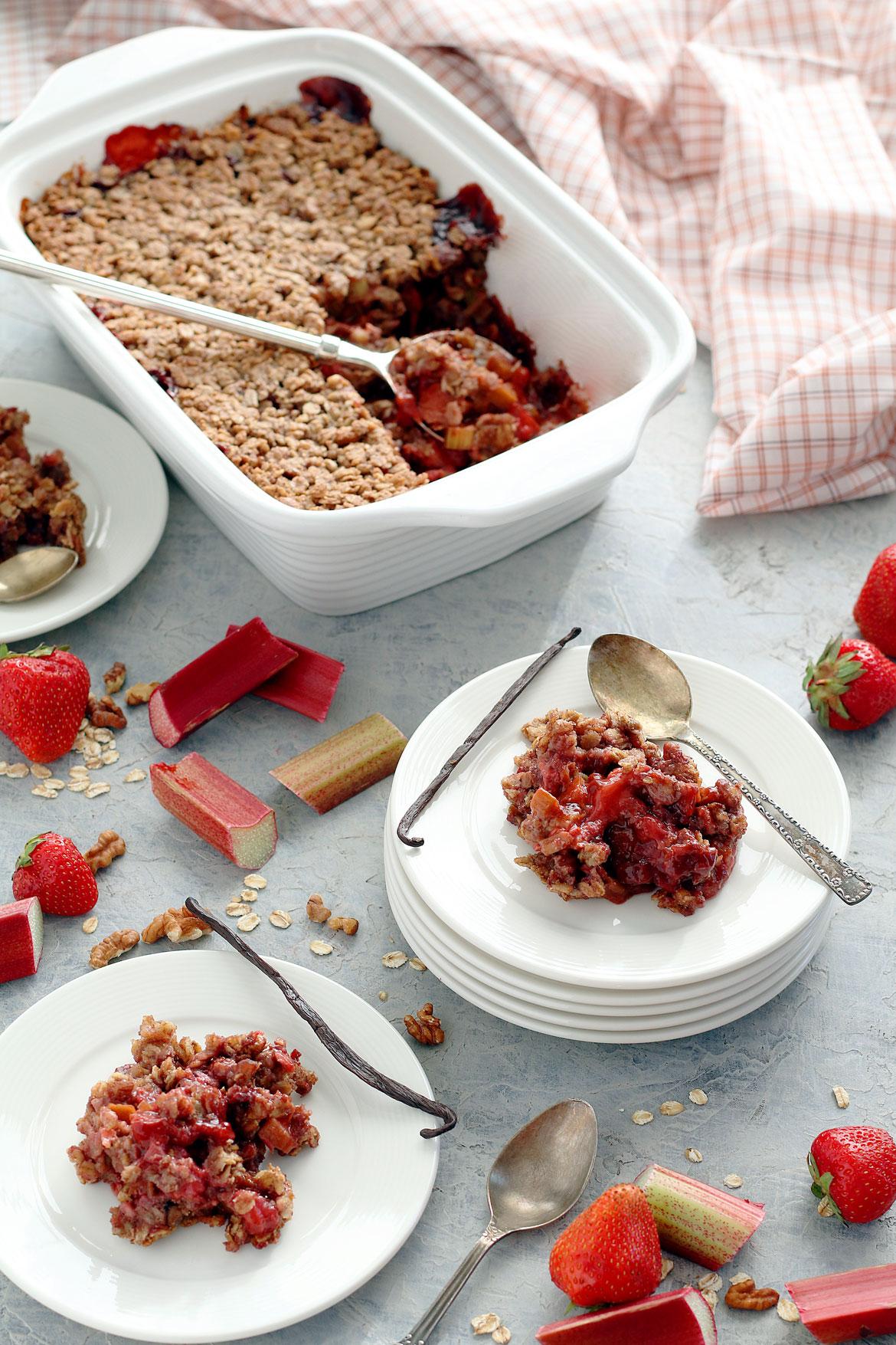 Strawberry Rhubarb Crisp Gluten Free | stayforabite.com