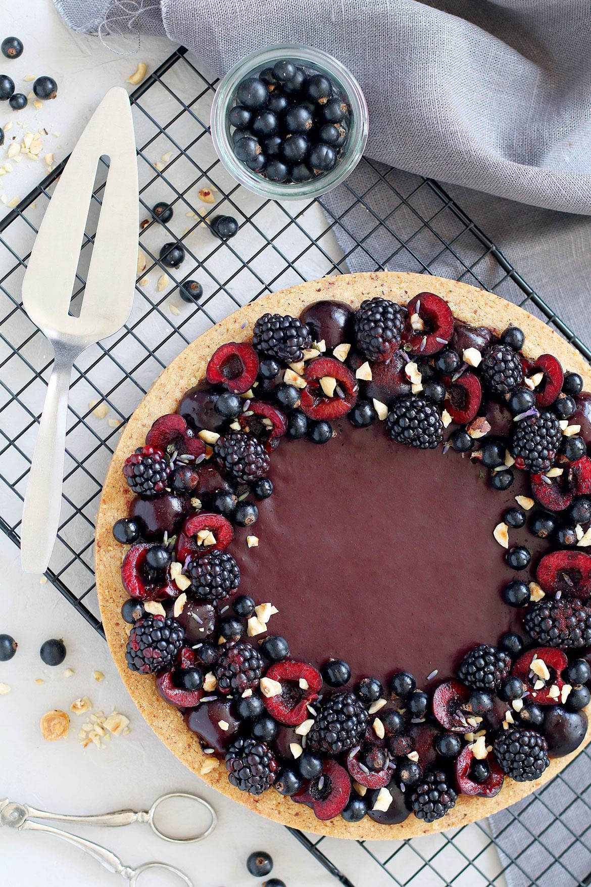 Blackcurrant Chocolate Tart (Gluten, Lactose Free) | stayforabite.com