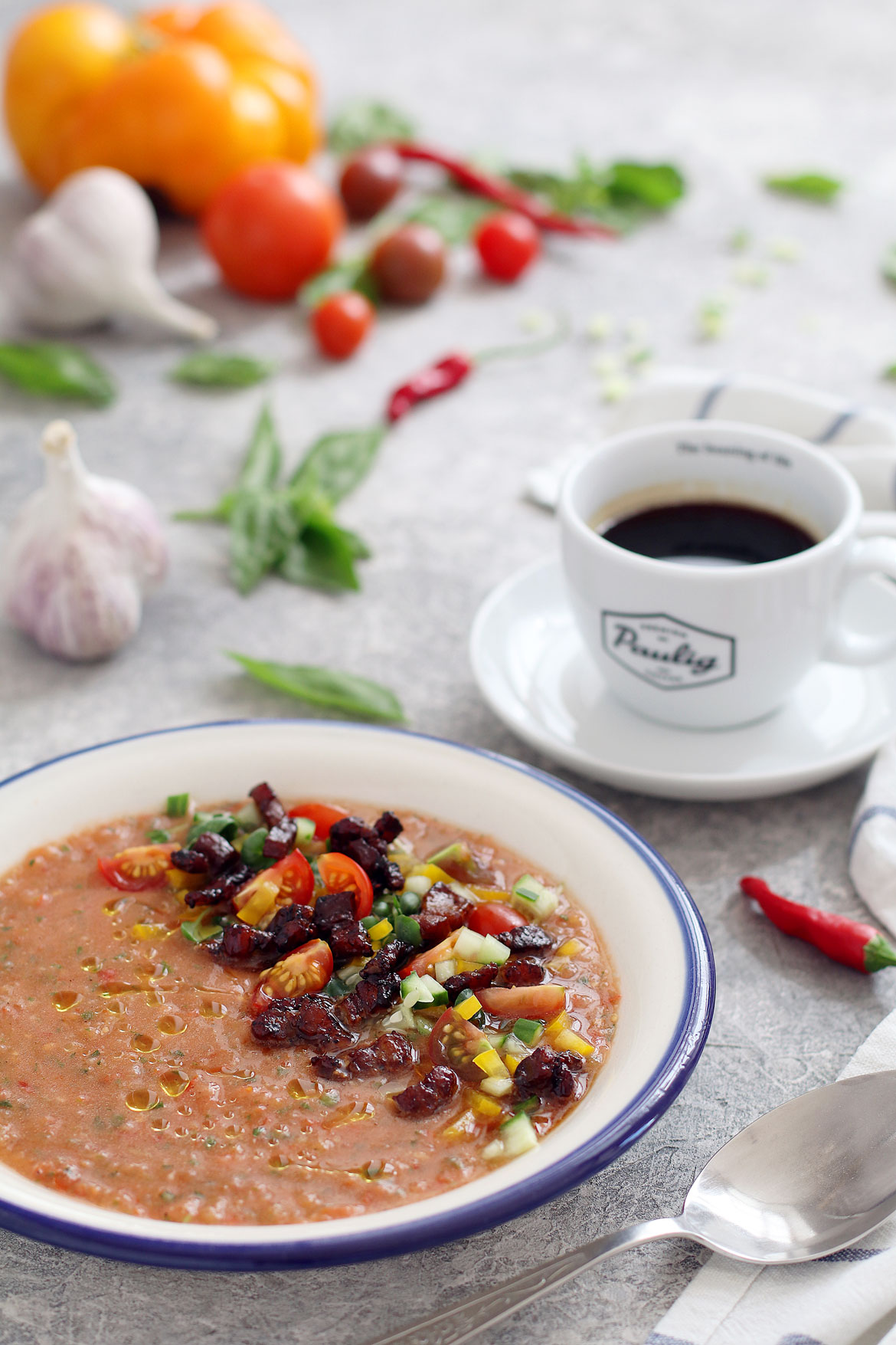 Gazpacho With Coffee Glazed Bacon | stayforabite.com
