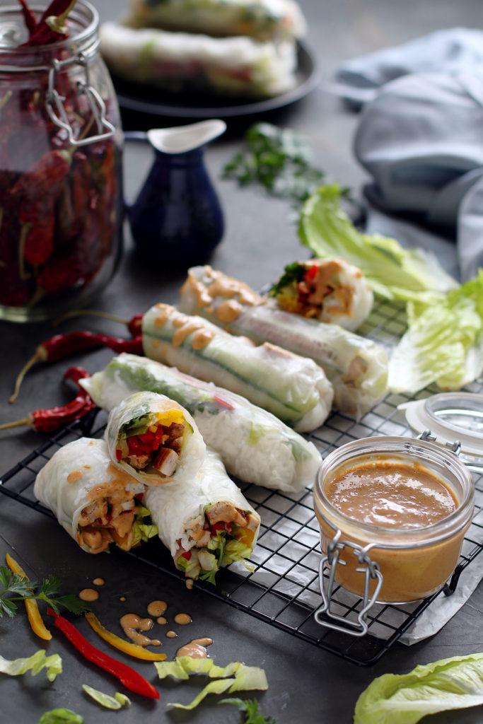 Chicken, vegetable, rice paper rolls with peanut sauce | stayforabite.com