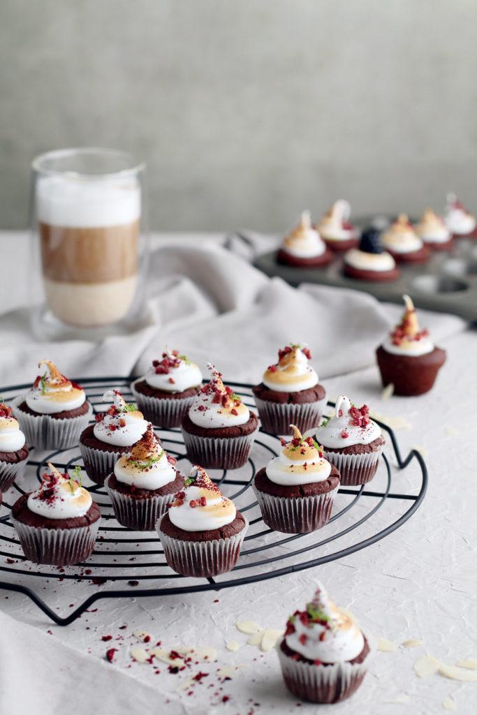 Mini chocolate, almond cupcakes with lemon curd and meringue | stayforabite.com