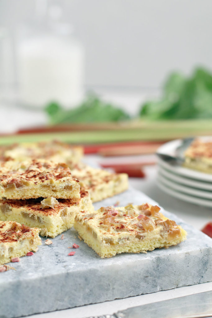 Gluten Free Rhubarb Cake Bars | stayforabite.com