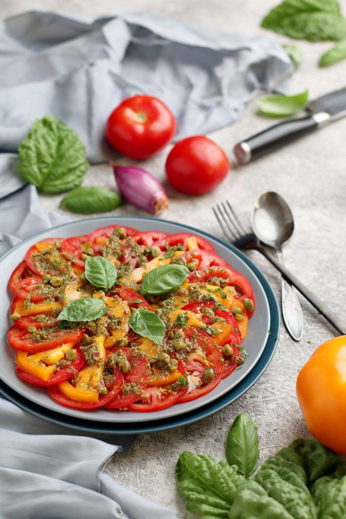 Tomato, Caper, Basil Salad | stayforabite.com