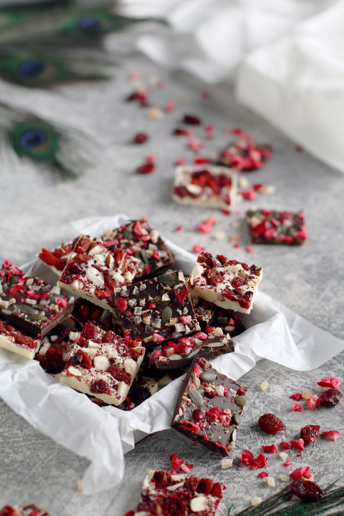 Easy Berry, Nut & Seed Chocolate Bark | stayforabite.com
